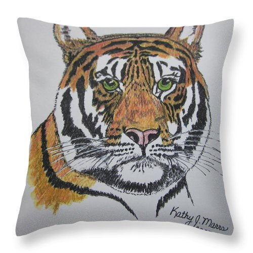 Bengal Throw Pillow featuring the painting Tiger by Kathy Marrs Chandler