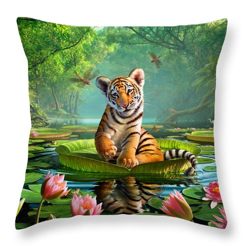Tiger Throw Pillow featuring the digital art Tiger Lily by Jerry LoFaro
