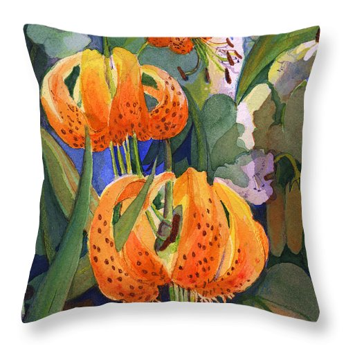 Flower Throw Pillow featuring the painting Tiger Lily Parachutes by Nancy Watson