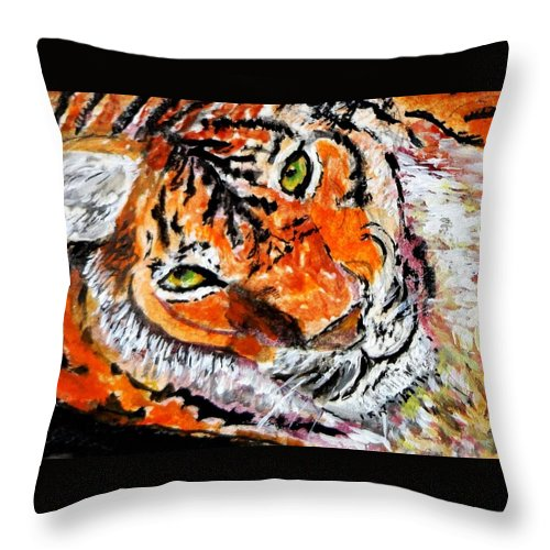 Tiger Throw Pillow featuring the painting Look Into My Eyes by Anne Sands