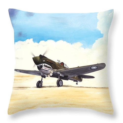 Aviation Throw Pillow featuring the painting Tiger Scramble by Marc Stewart