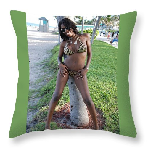 Sand Throw Pillow featuring the photograph Tiger Strips by Rob Hans