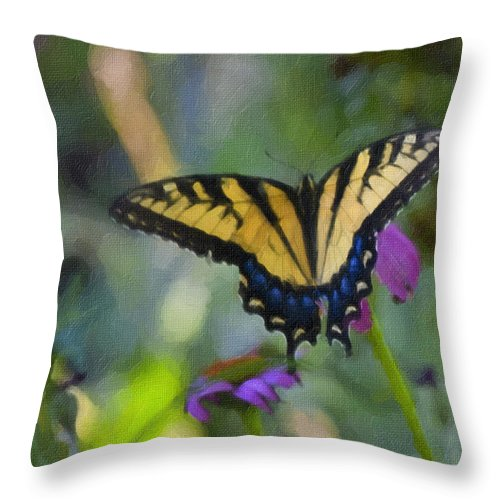 Tiger Throw Pillow featuring the painting Tiger Swallowtail Painting by Teresa Mucha
