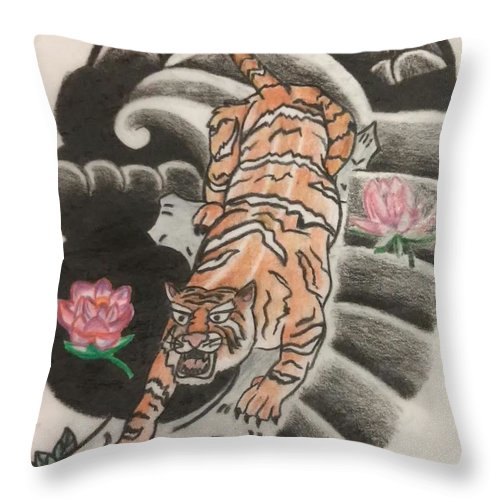 Japanese Style Throw Pillow featuring the drawing Tiger by TJ Conroy