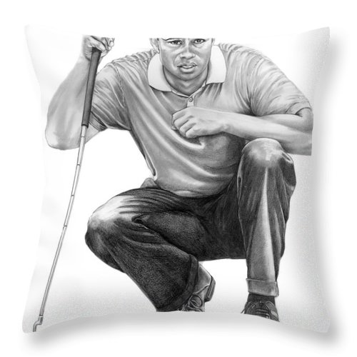 Pencil Throw Pillow featuring the drawing Tiger Woods Crouching Tiger by Murphy Elliott