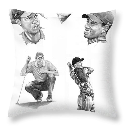 (tiger Woods) Throw Pillow featuring the drawing Tiger Woods- Full Circle by Murphy Elliott