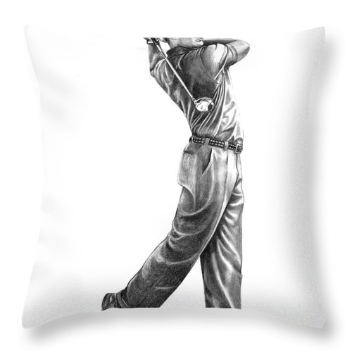 Tiger Woods Throw Pillow featuring the drawing Tiger Woods Full Swing by Murphy Elliott