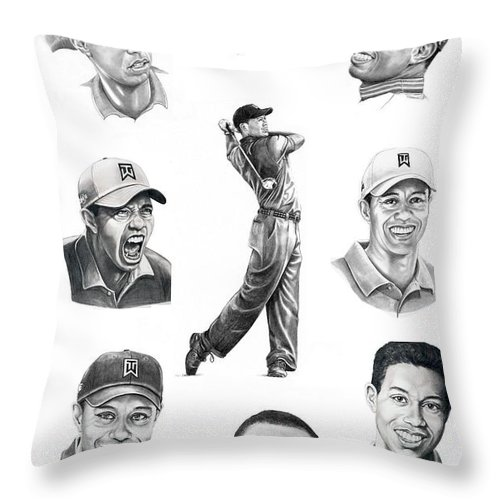 Tiger Woods Throw Pillow featuring the drawing Tiger Woods-murphy Elliott by Murphy Elliott