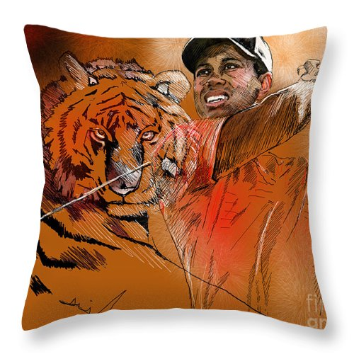 Golf Art Painting Portrait Tiger Woods Aninla Tiger Throw Pillow featuring the painting Tiger Woods Or Earn Your Stripes by Miki De Goodaboom