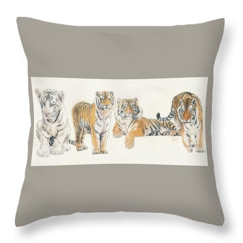 Tiger Throw Pillow featuring the mixed media Tiger Wrap by Barbara Keith