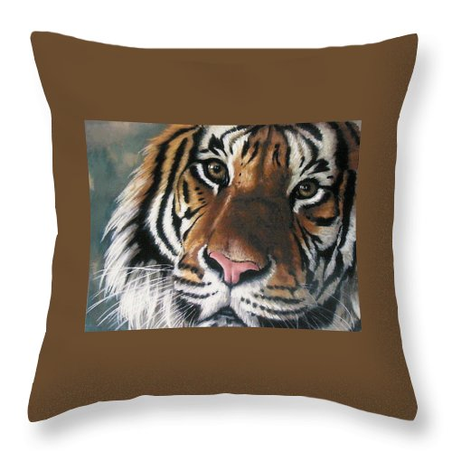 Tiger Throw Pillow featuring the pastel Tigger by Barbara Keith
