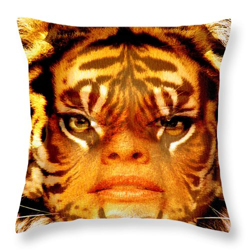 Tigress Throw Pillow featuring the photograph Tigress by Seth Weaver
