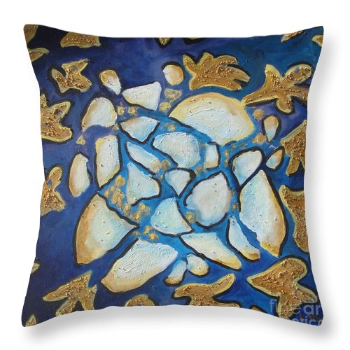 Abstract Throw Pillow featuring the painting Tikkun Olam Heal The World by Laurie Morgan
