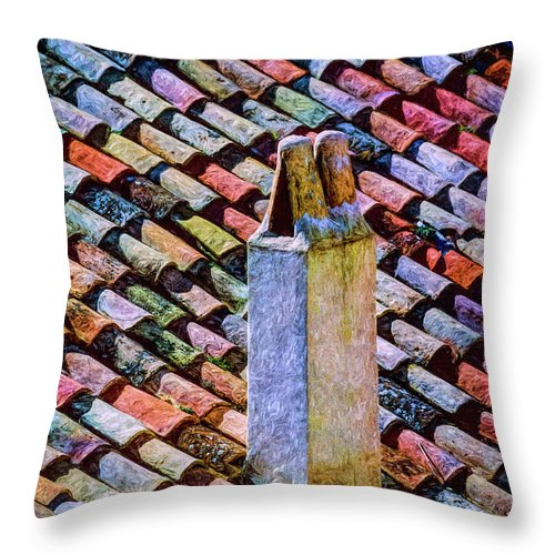 Tile Throw Pillow featuring the photograph Tile Roof, Spain by Mike Penney