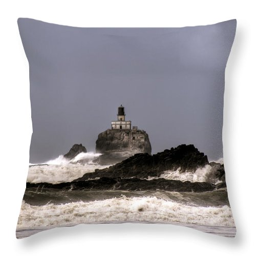 Hdr Throw Pillow featuring the photograph Tillamook Lighthouse by Brad Granger