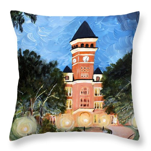Clemson Throw Pillow featuring the painting Tillman By Night by Ashley Galloway