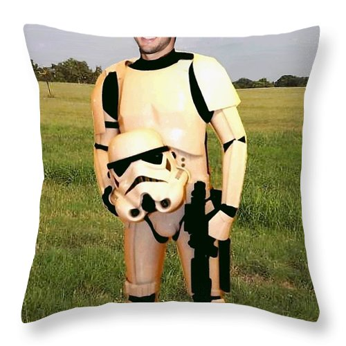 Tim Tebow Throw Pillow featuring the painting Tim Tebow Stormtrooper by Paul Van Scott