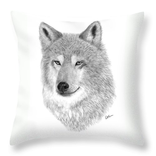 Wolf Drawing Throw Pillow featuring the drawing Timber Wolf by Rosanna Maria