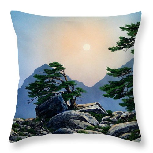 Timberline Guardians Throw Pillow featuring the painting Timberline Guardians by Frank Wilson