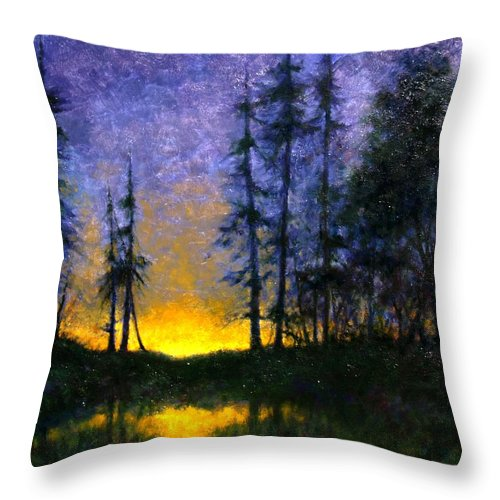 Landscape. Nocturn Throw Pillow featuring the painting Timberline by Jim Gola