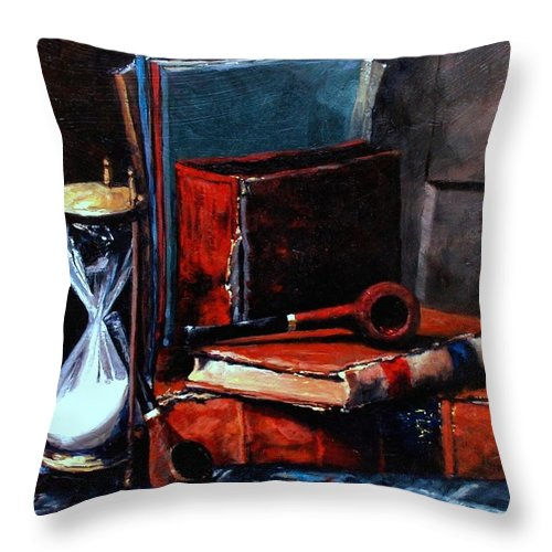 Still Life Painting Throw Pillow featuring the painting Time and Old Friends by Jim Gola