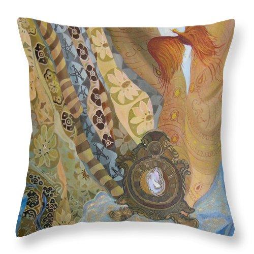 Still Life Throw Pillow featuring the painting Time by Antoaneta Melnikova- Hillman