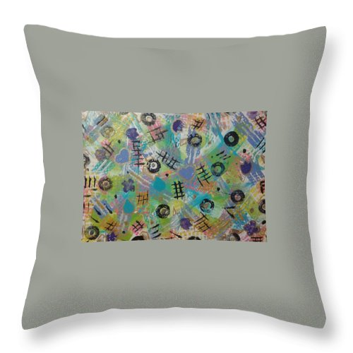 Abstract Throw Pillow featuring the painting Time Bonding Pc.1 by April Brown