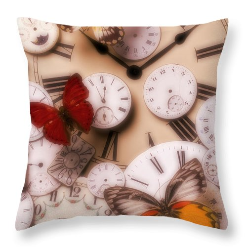 Butterfly Throw Pillow featuring the photograph Time Flies by Garry Gay