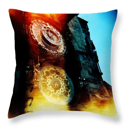 Clock Time Holga Color Photograph Praha Throw Pillow featuring the photograph Time Is Burning by Olivier De Rycke