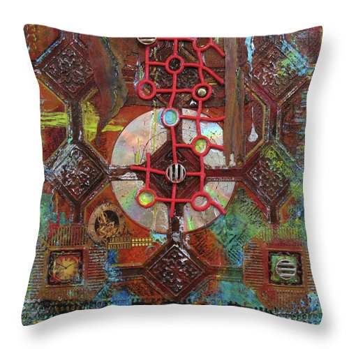 Assemblage Painting Throw Pillow featuring the painting Time Passage II by Elaine Booth-Kallweit
