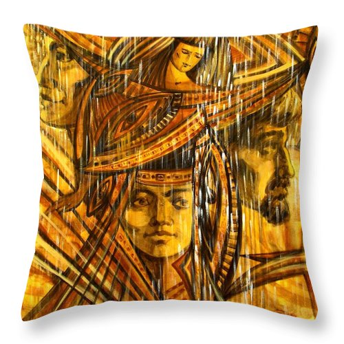 Surrealism Throw Pillow featuring the painting Time Rain by Inga Vereshchagina