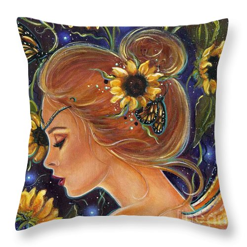 Sunflower Art Throw Pillow featuring the painting Time to be free by Renee Lavoie