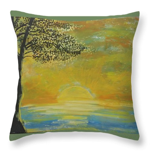 Sun Set Throw Pillow featuring the painting Time to go in by J Bauer
