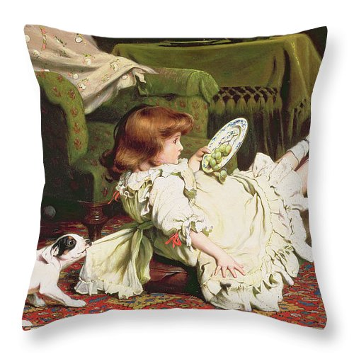 Naughty Throw Pillow featuring the painting Time To Play by Charles Burton Barber