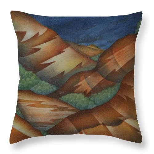 Mountains Throw Pillow featuring the painting Time To Seek Shelter by Jeniffer Stapher-Thomas