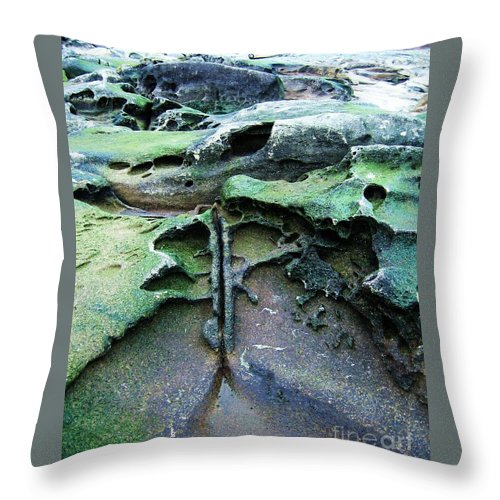 Photograph Rock Beach Ocean Throw Pillow featuring the photograph Time Washed Out by Seon-Jeong Kim