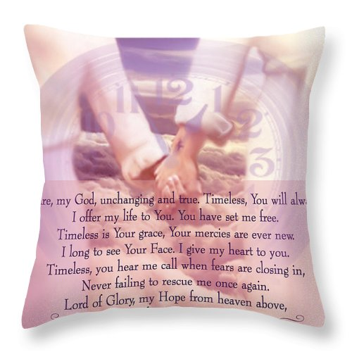 Jennifer Page Throw Pillow featuring the digital art Timeless Poem by Jennifer Page