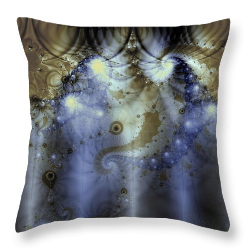 Blue Throw Pillow featuring the digital art Timeline Of History by Casey Kotas