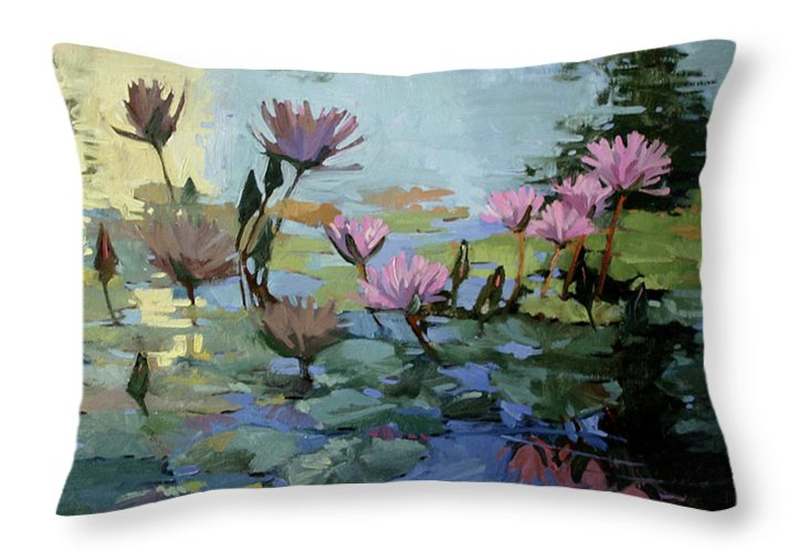 Floral Throw Pillow featuring the painting Times Between - Water Lilies by Betty Jean Billups