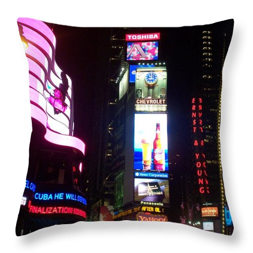 Times Square Throw Pillow featuring the photograph Times Square 1 by Anita Burgermeister