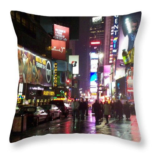 Times Square Throw Pillow featuring the photograph Times Square In The Rain 1 by Anita Burgermeister