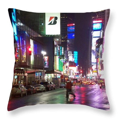 Times Square Throw Pillow featuring the photograph Times Square In The Rain 2 by Anita Burgermeister