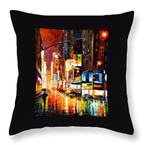 City Throw Pillow featuring the painting Times Square by Leonid Afremov