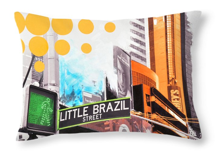 Ny Throw Pillow featuring the painting Times Square Little Brazil by Jean Pierre Rousselet