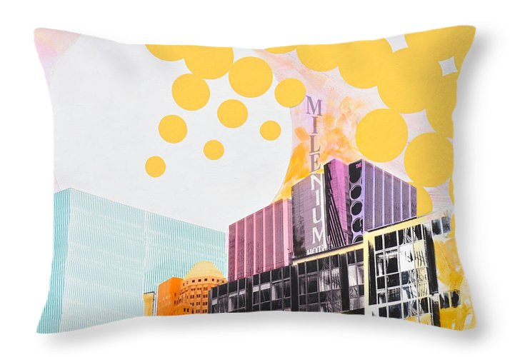 Ny Throw Pillow featuring the painting Times Square Milenium Hotel by Jean Pierre Rousselet
