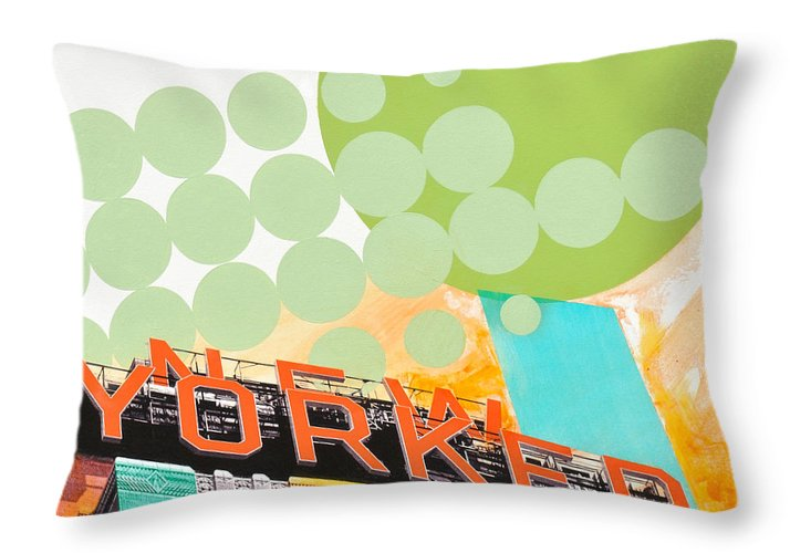 Ny Throw Pillow featuring the painting Times Square New Yorker by Jean Pierre Rousselet