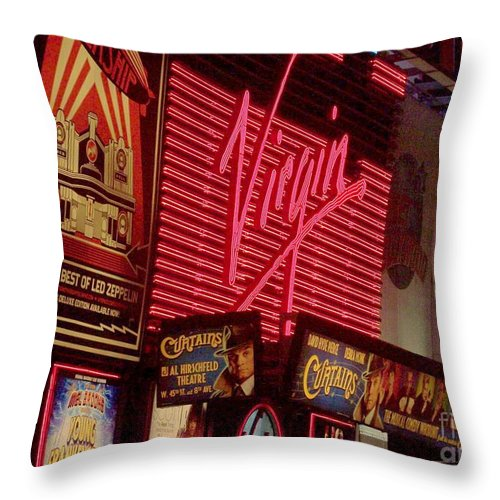 Times Square Throw Pillow featuring the photograph Times Square Night by Debbi Granruth