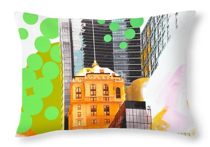 Ny Throw Pillow featuring the painting Times Square Ny Advertise by Jean Pierre Rousselet