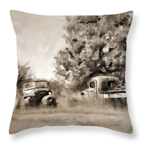 Timeworn Throw Pillow featuring the painting Timeworn by Susan Kinney