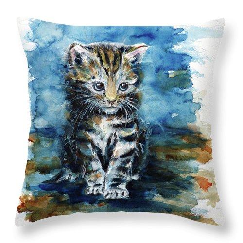 Timid Kitten Throw Pillow featuring the painting Timid Kitten by Zaira Dzhaubaeva